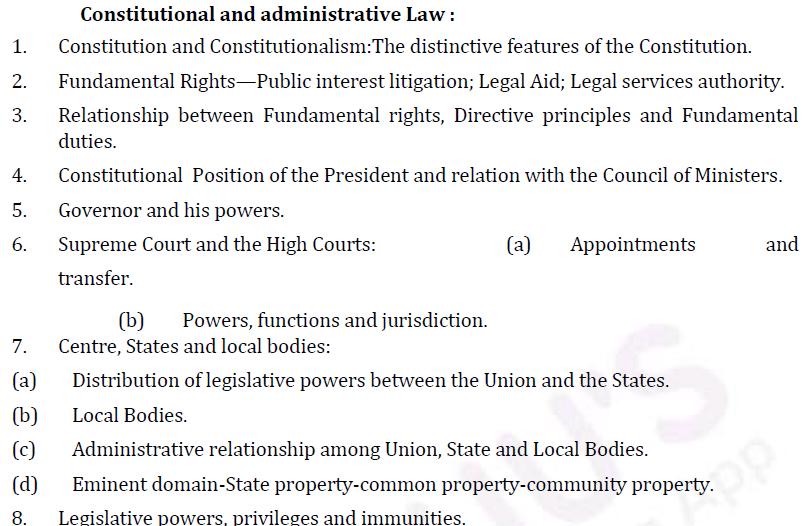 UPSC Law Syllabus- Law Optional Syllabus Paper-I 1