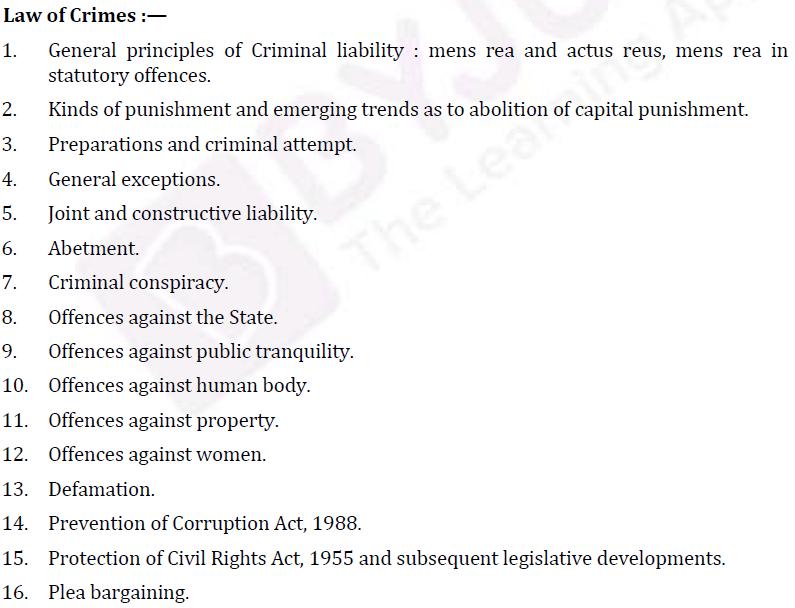 UPSC Law Syllabus- Law Optional Syllabus Paper-II 1