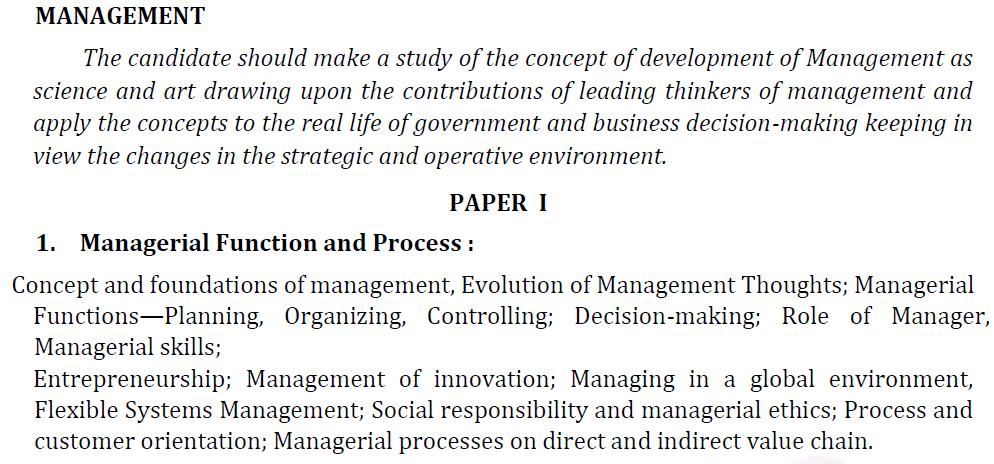 UPSC Management Syllabus- IAS Management Optional Syllabus for Paper I-1
