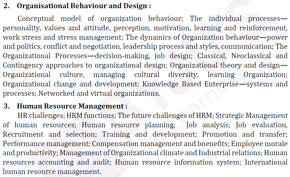 UPSC Management Syllabus- IAS Management Optional Syllabus for Paper I-2