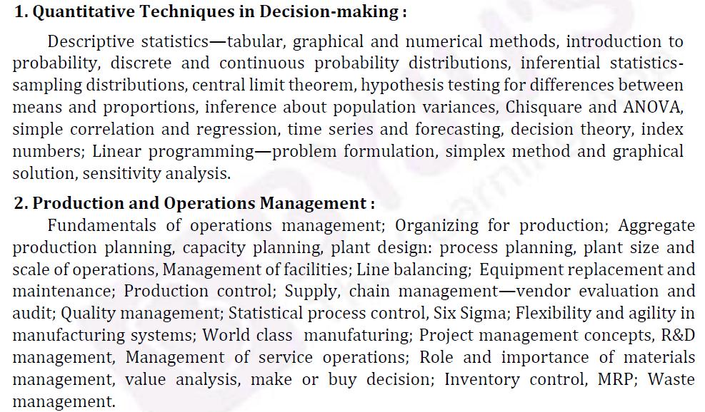 UPSC Management Syllabus- IAS Management Optional Syllabus for Paper II-1