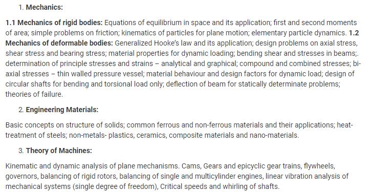 UPSC Mechanical Engineering Optional Syllabus- Mechanical Engineering Syllabus Paper-I- 1