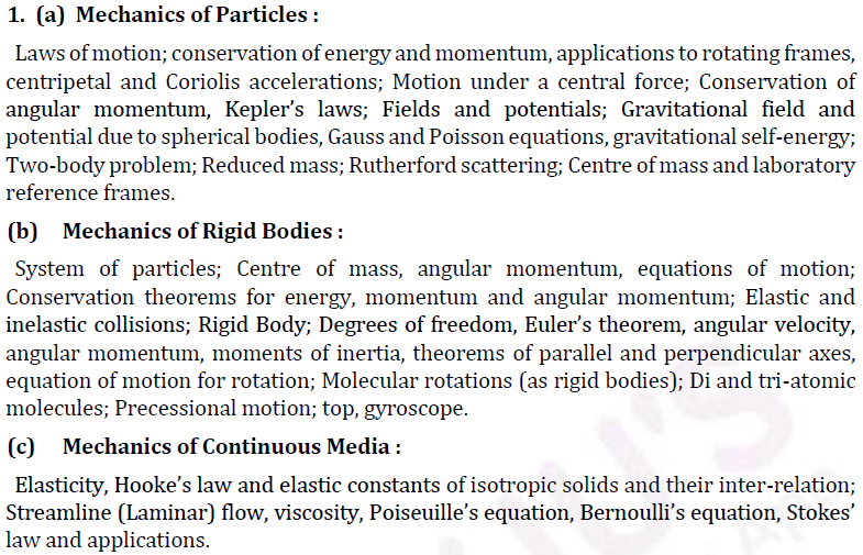 UPSC Physics Syllabus- Physics Optional Syllabus Paper-I 1