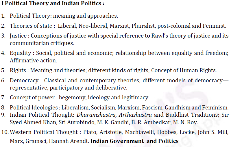UPSC Political Science Optional Syllabus Paper I-1
