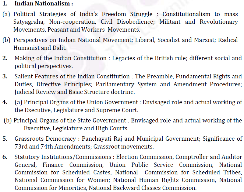 UPSC Political Science Optional Syllabus Paper I-2