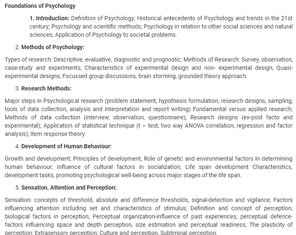 UPSC Psychology Syllabus- Syllabus for UPSC Psychology Paper-I - 1
