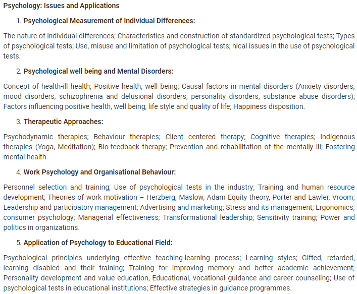 UPSC Psychology Syllabus- Syllabus for UPSC Psychology Paper-II- 1