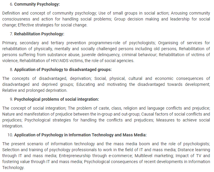UPSC Psychology Syllabus- Syllabus for UPSC Psychology Paper-II - 2