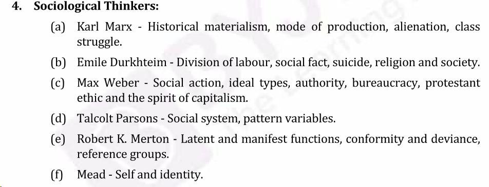 UPSC Sociology Syllabus- Sociology Optional Syllabus Paper-I 2