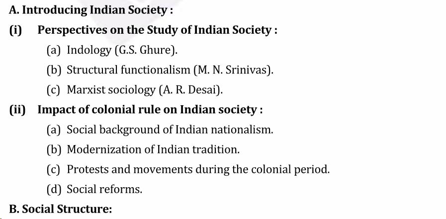 UPSC Sociology Syllabus- Sociology Optional Syllabus Paper-II 1