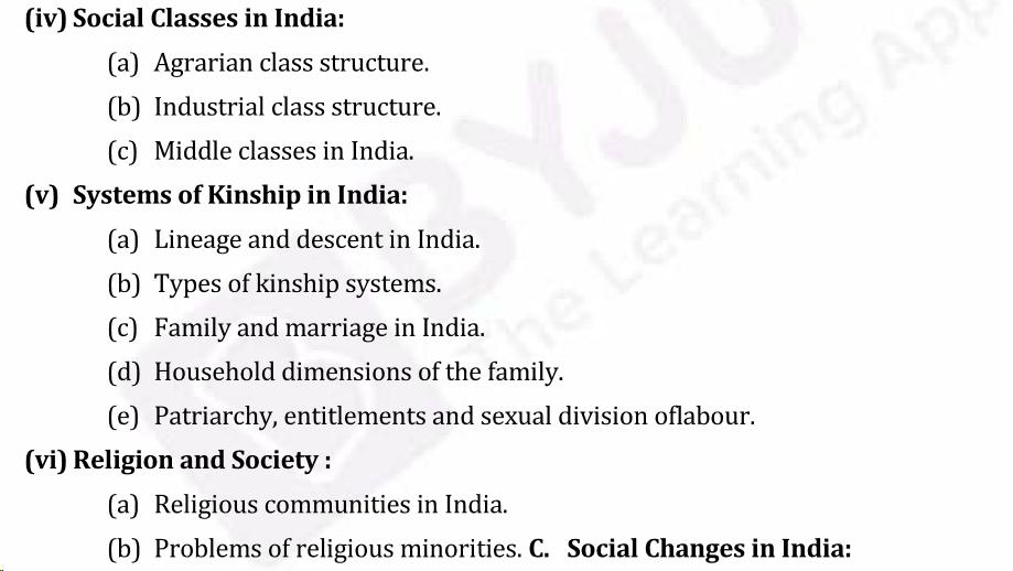 UPSC Sociology Syllabus- Sociology Optional Syllabus Paper-II 3