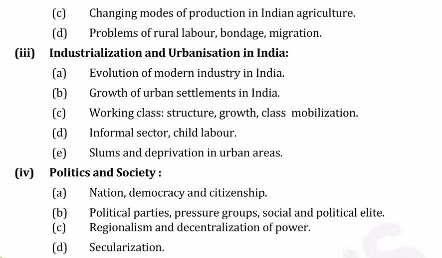 UPSC Sociology Syllabus- Sociology Optional Syllabus Paper-II 5