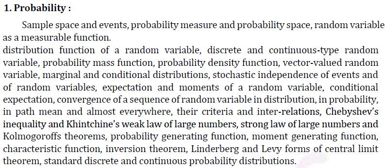 UPSC Statistics Syllabus- Statistics Optional Syllabus Paper-I 1