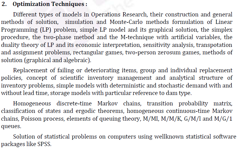 UPSC Statistics Syllabus- Statistics Optional Syllabus Paper-II 2