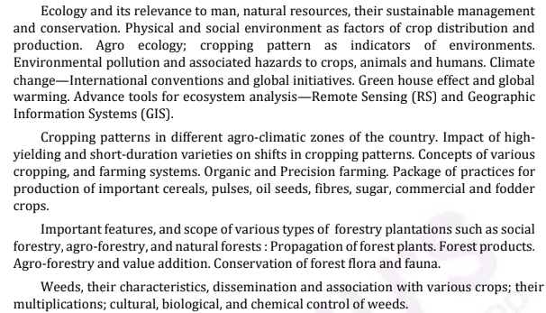 UPSC Agriculture Optional Syllabus