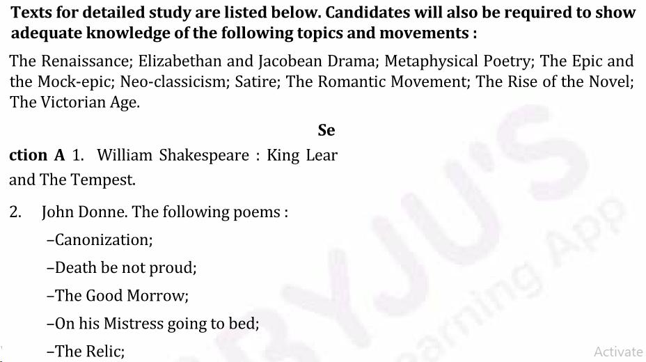 UPSC English Literature Syllabus For IAS Mains 2019