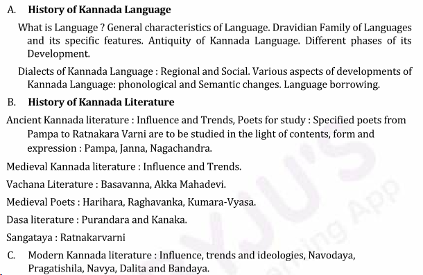 UPSC Kannada Literature Syllabus- Kannada Literature Optional Syllabus Paper-I 1