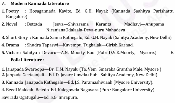 UPSC Kannada Literature Syllabus- Kannada Literature Optional Syllabus Paper-II 2