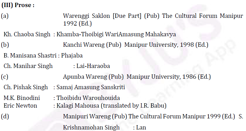 UPSC Manipuri Literature Syllabus- Manipuri Literature Optional Syllabus Paper-II 6