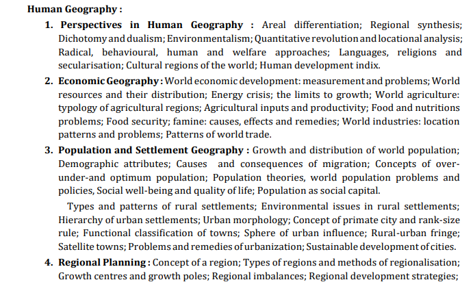 UPSC Geography Syllabus - Human Geography Paper 1