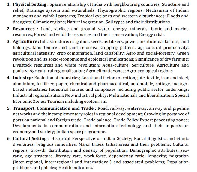 UPSC Geography Syllabus - Paper 2