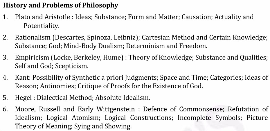 UPSC Philosophy Syllabus