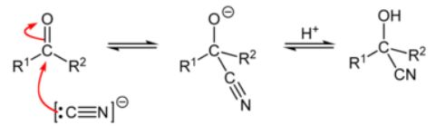Nucleophilic Addition Reaction with Hydrogen Cyanide