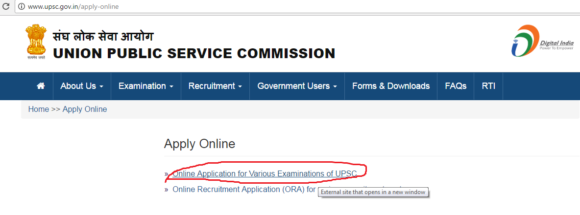 UPSC Online Registration Guidelines