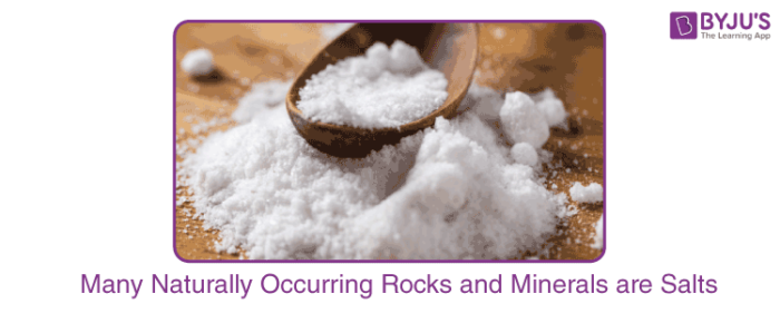 Many Naturally Occurring Rocks and Minerals are Salts
