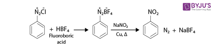 Reactions of Diazonium Salts - Replacement of Diazonium Group with a Nitro group