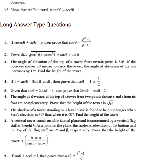 Important questions for class 10 maths chapter 8