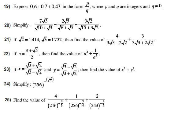Important Questions Class 9 Maths Chapter 1 Number System Part 5