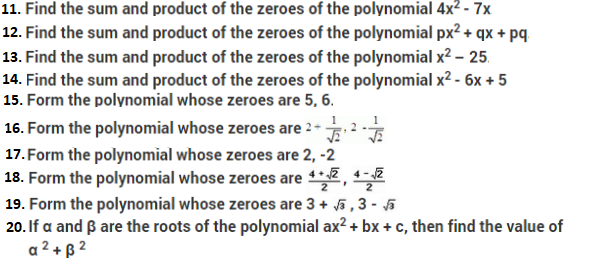 Important Class 10 Maths Questions for Chapter 2 Polynomials