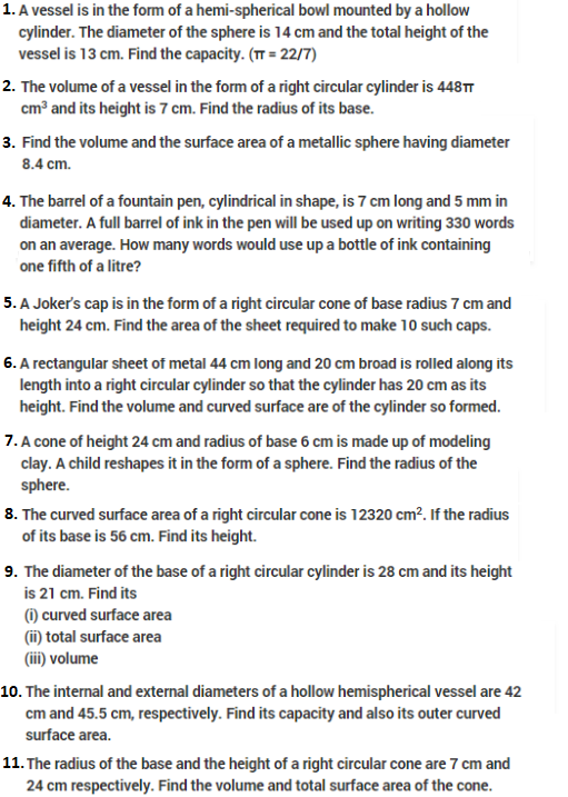 Important Questions Class 10 Maths Chapter 13 Surface Areas Volume-1