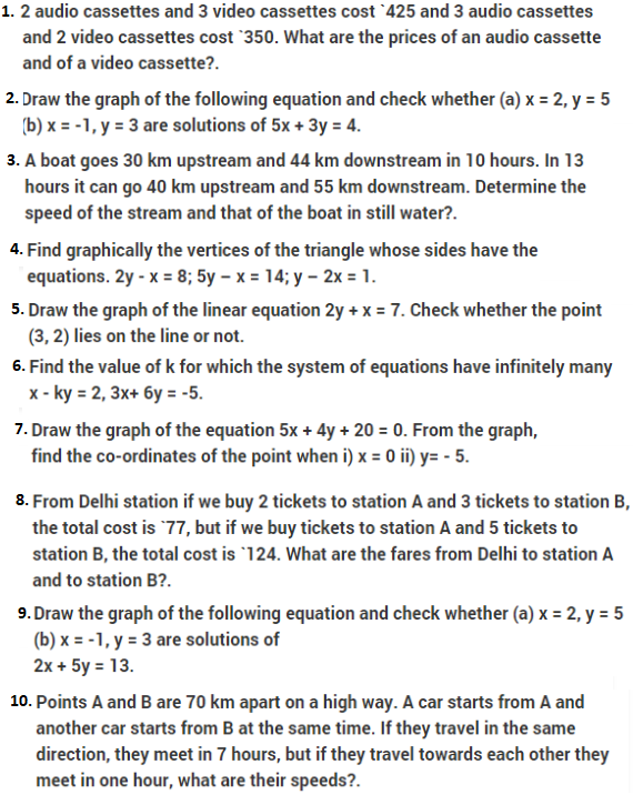 Important Questions Class 10 Maths Chapter 3 Linear Equations In Two Variables- Part 1