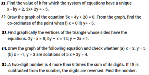 Important Questions Class 10 Maths Chapter 3 Linear Equations In Two Variables- Part 4