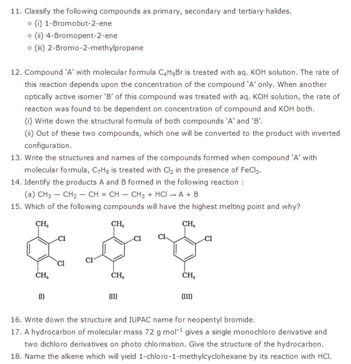 important questions class 12 chemistry chapter 10 haloalkanes haloarenes 2