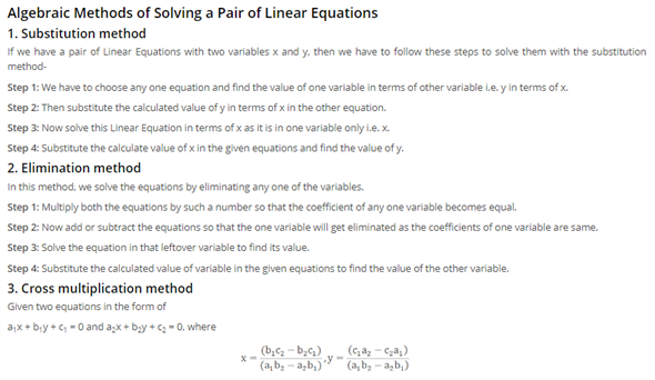 Class 10 Maths Chapter 3 - pair of linear equations in two variables