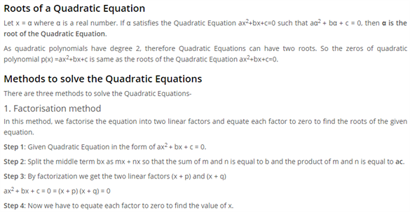 Class 10 Maths Chapter 4 - quadratic equations