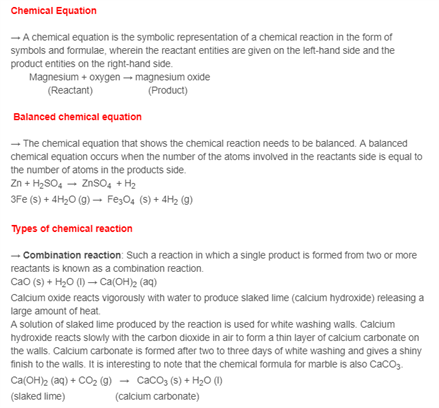 Class 10 Chapter 1 - Chemical Reactions and Equations