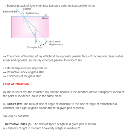 Class 10 Science Chapter 10 - Light – Reflection and Refraction