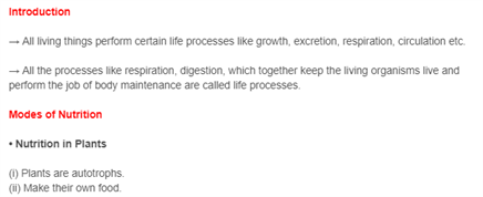 Class 10 Revision Notes Science Chapter 6 - Life Processes