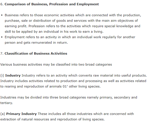 Class 11 Business Studies Chapter 1 - Business, Trade and Commerce