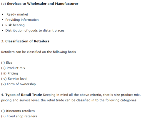 Class 11 Business Studies Chapter 10 - Internal Trade