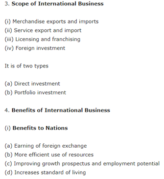 Class 11 Business Studies Chapter 11 - International Business - I