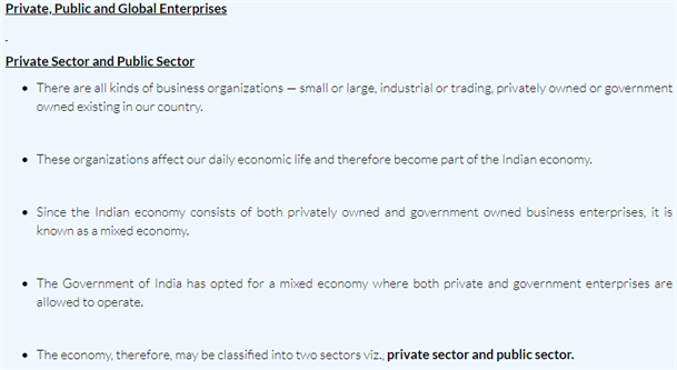 Class 11 Business Studies Chapter 3 Private, Public and Global Enterprises