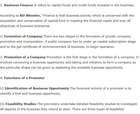 Class 11 Business Studies Revision Notes For Chapter 7