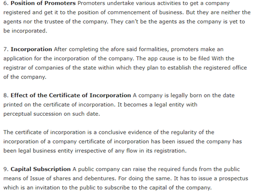 Class 11 Business Studies Chapter 7 - Formation of a Company
