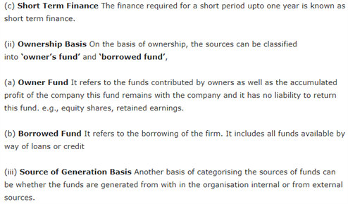 Class 11 Business Studies Chapter 8 - Sources of Business Finance