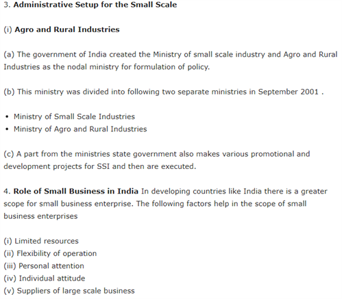 Class 11 Business Studies Chapter 9 - Small Business
